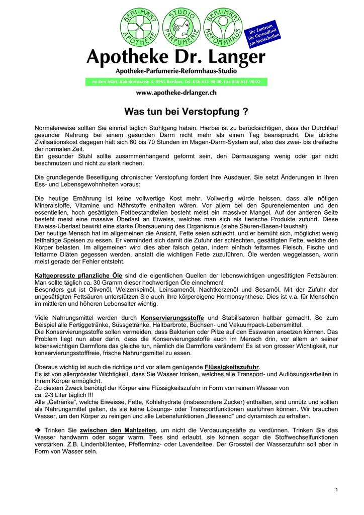 Verstopfung Apotheke Dr Langer Ag