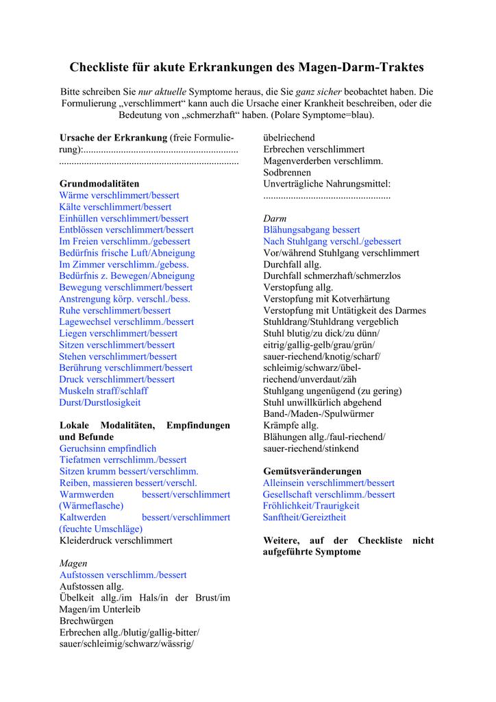 Checkliste Für Akute Erkrankungen Des Magen Darm