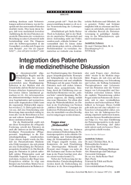 Integration des Patienten in die medizinethische Diskussion
