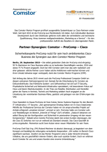 Partner-Synergien: Comstor - ProComp - Cisco