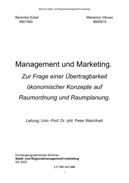 V. Marketing und Management in der Raumordnung und
