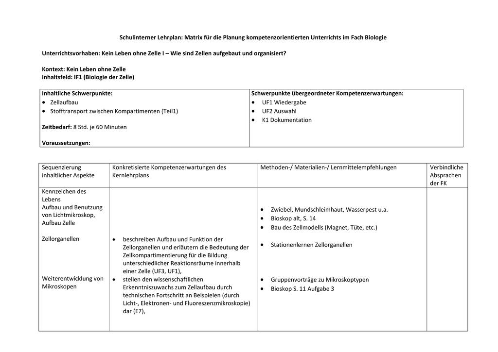 Schulinterner Lehrplan: Matrix für die Planung