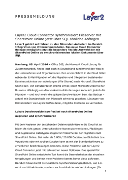 Layer2 Cloud Connector synchronisiert Fileserver mit SharePoint