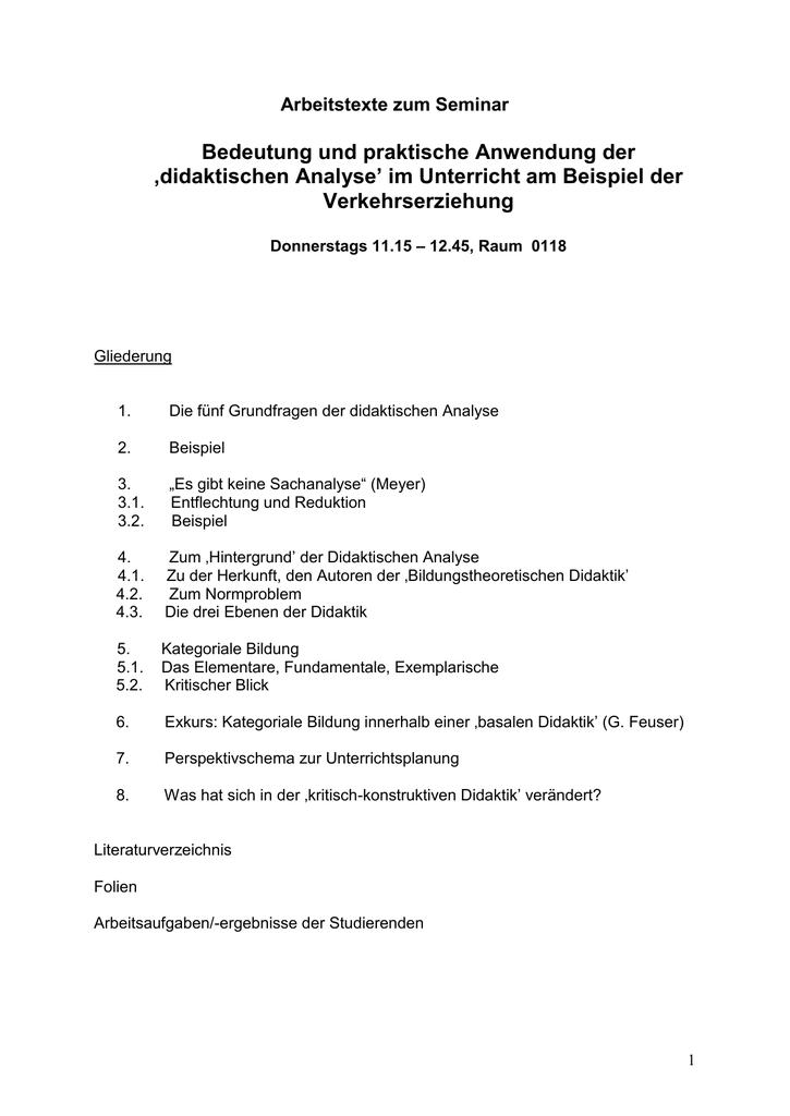 Die Didaktische Analyse Oder Padagogische Hochschule