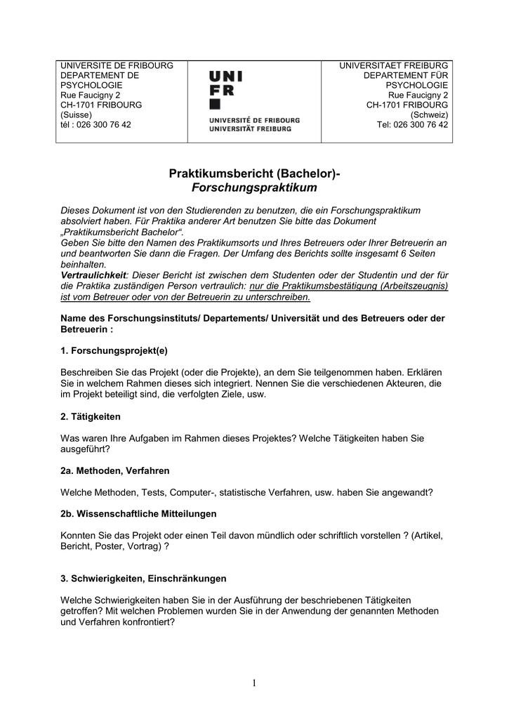 Praktikumsbericht Universite De Fribourg