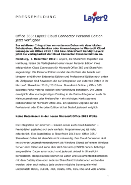 Office 365 - Layer2 Cloud Connector Personal Edition jetzt verfügbar