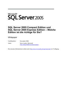 Microsoft SQL Server Express Edition und SQL Server Compact