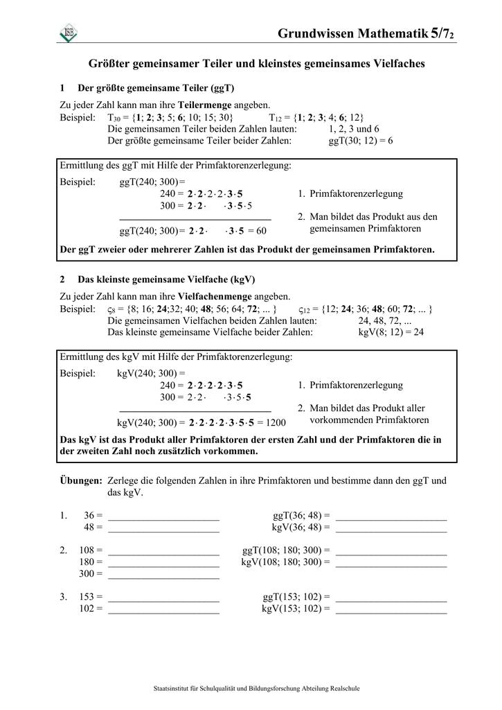 Vielfache von 5 | Gemeinsame Teiler und Vielfache. 2020-05-08