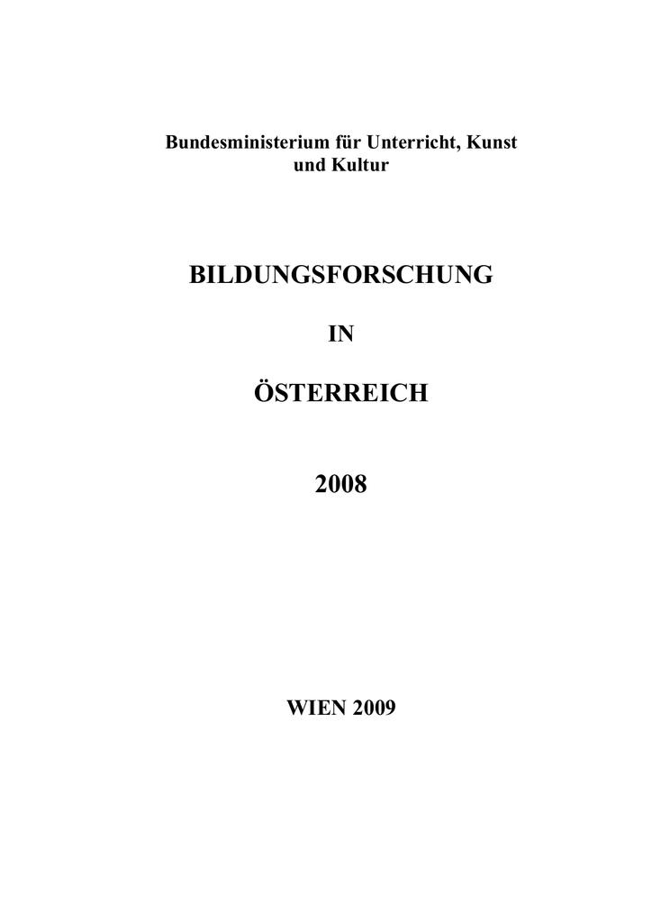 Bildungsforschung in Österreich 2008