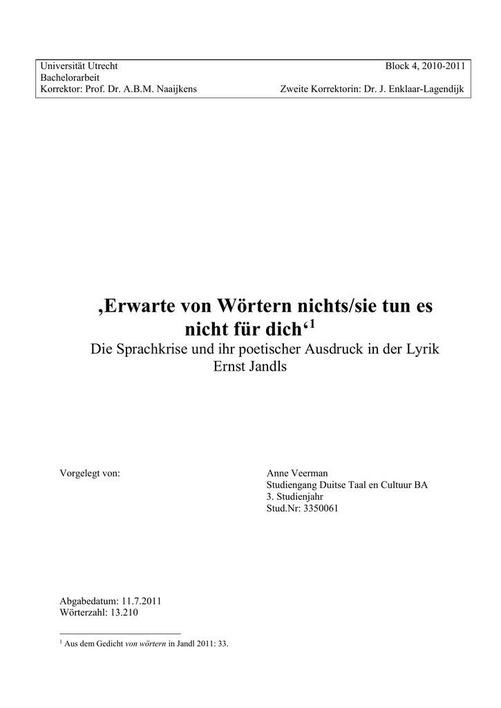 3 Die Sprachkrise Bei Ernst Jandl