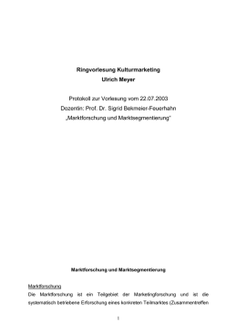 Ringvorlesung Kulturmarketing