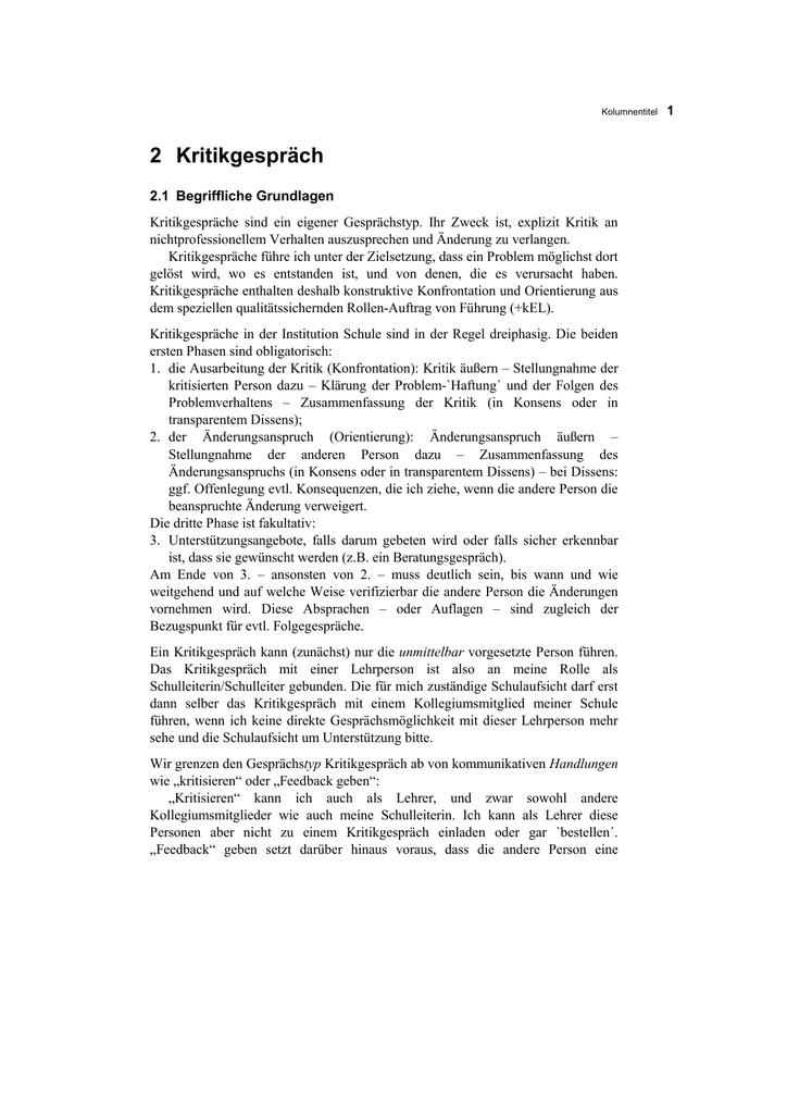 2 kritikgesprch homepageruhr uni - Kritikgesprach Beispiel