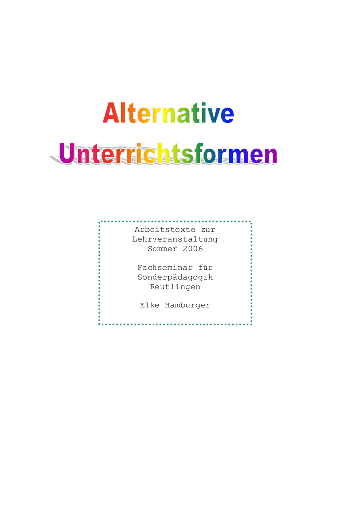 Skript alternative Unterrichtsmethoden