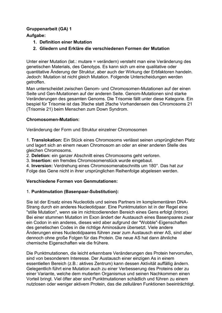 Beste Gen Mutationen Und Proteine Zum Arbeitsblatt Ideen - Mathe ...