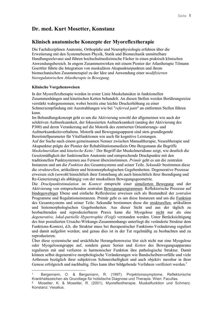 Klinisch anatomische Konzepte der Myoreflextherapie
