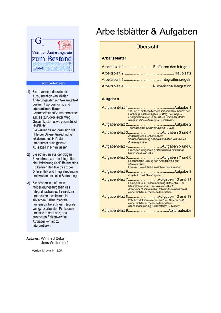 G1 Von der Änderungsrate zum Bestand Arbeitsblatt 1