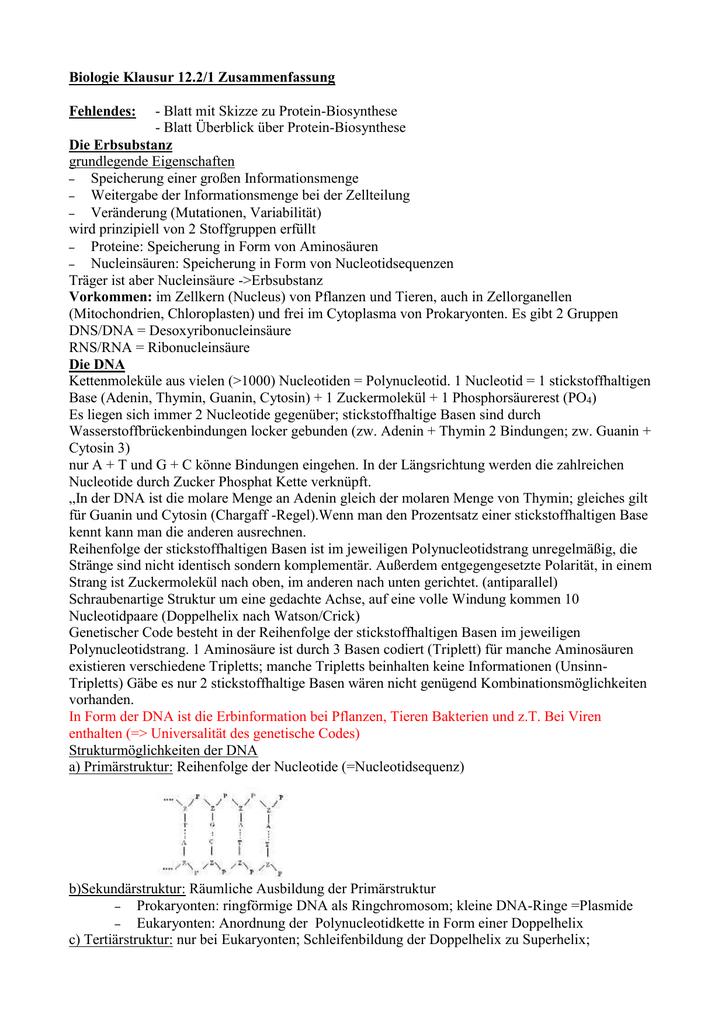 Biologie Klausur 12.2/1 Zusammenfassung Fehlendes: