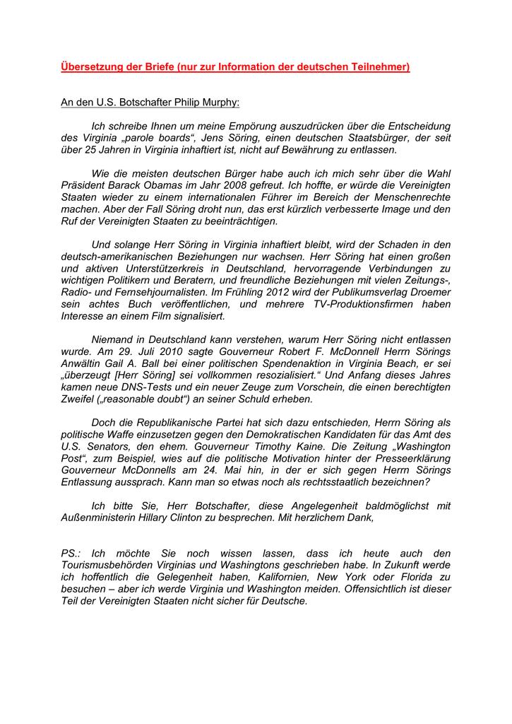 übersetzung Der Briefe Nur Zur Information Der Deutschen
