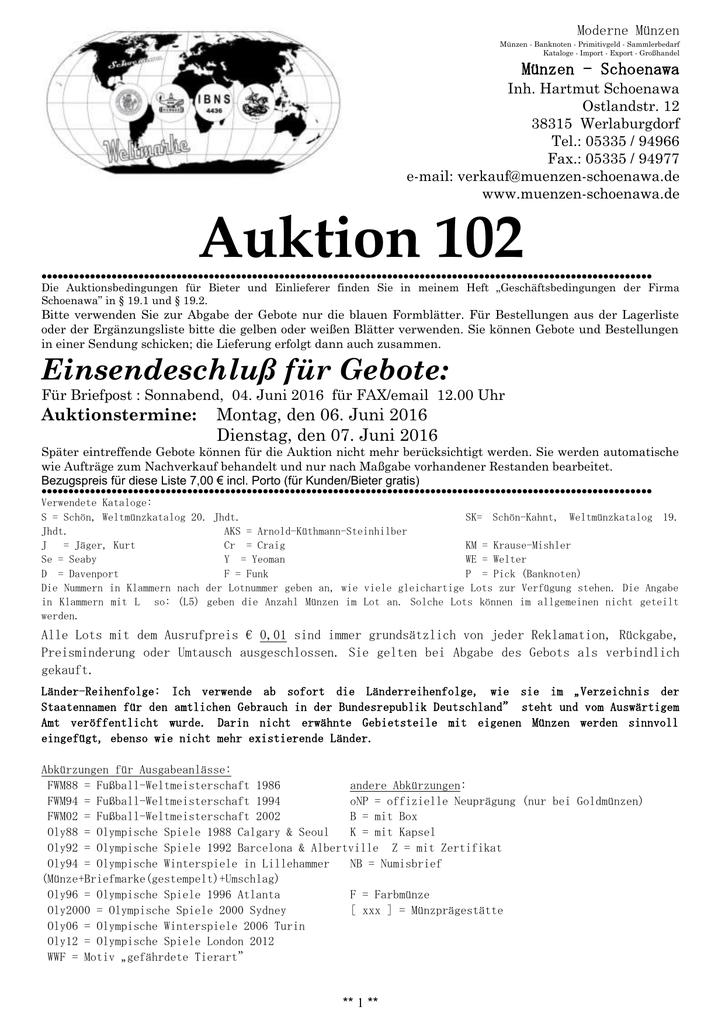 Auktion 101 Muenzen