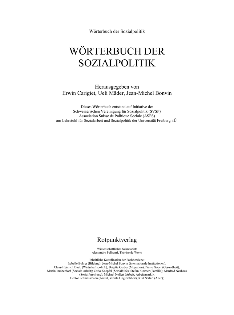 Wörterbuch der Sozialpolitik