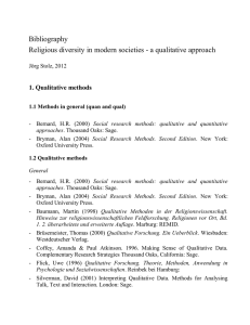 Religious diversity in modern societies - a qualitative approach