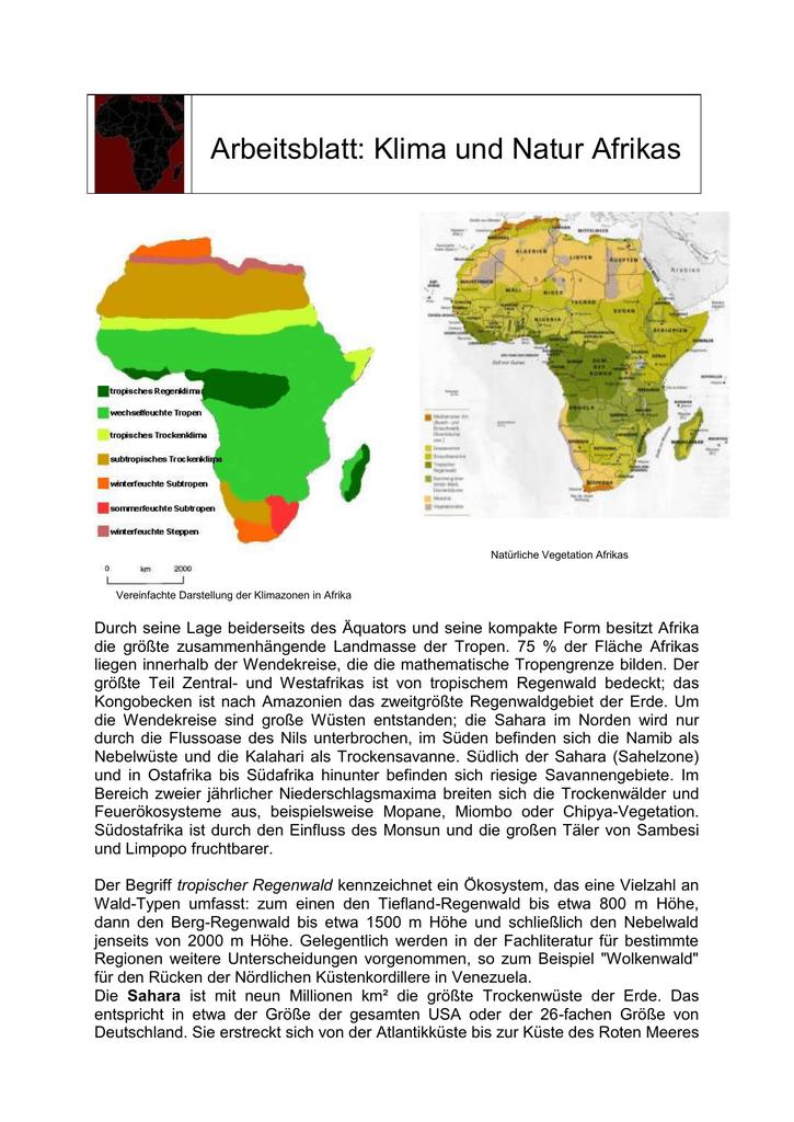 Arbeitsblatt - Klima und Natur Afrikas -