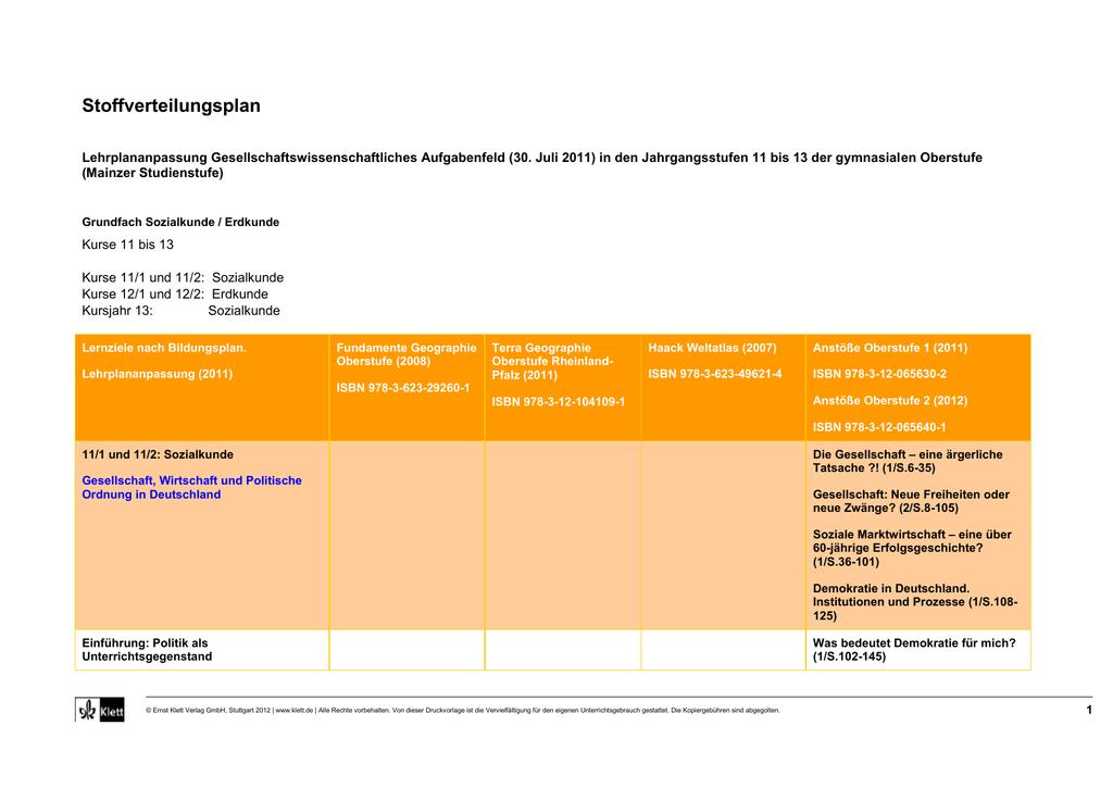 Stoffverteilungsplan: Grundfach Sozialkunde / Erdkunde RP