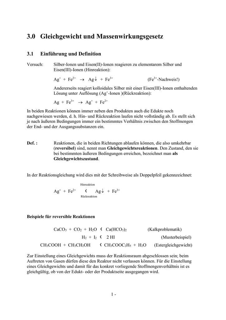 gleichgewichte und massenwirkungsgesetz - Massenwirkungsgesetz Beispiel