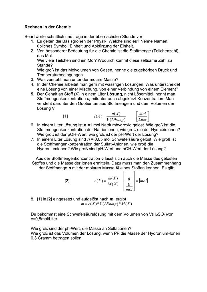 Rechnen in der Chemie: Die Stoffmengenkonzentration