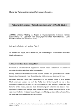 Muster der Patienteninformation - AWARE