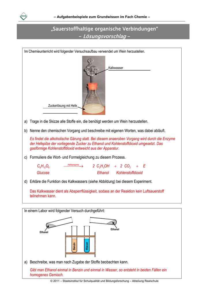 Sauerstoffhaltige Organische Verbindungen Lösungsvorschlag