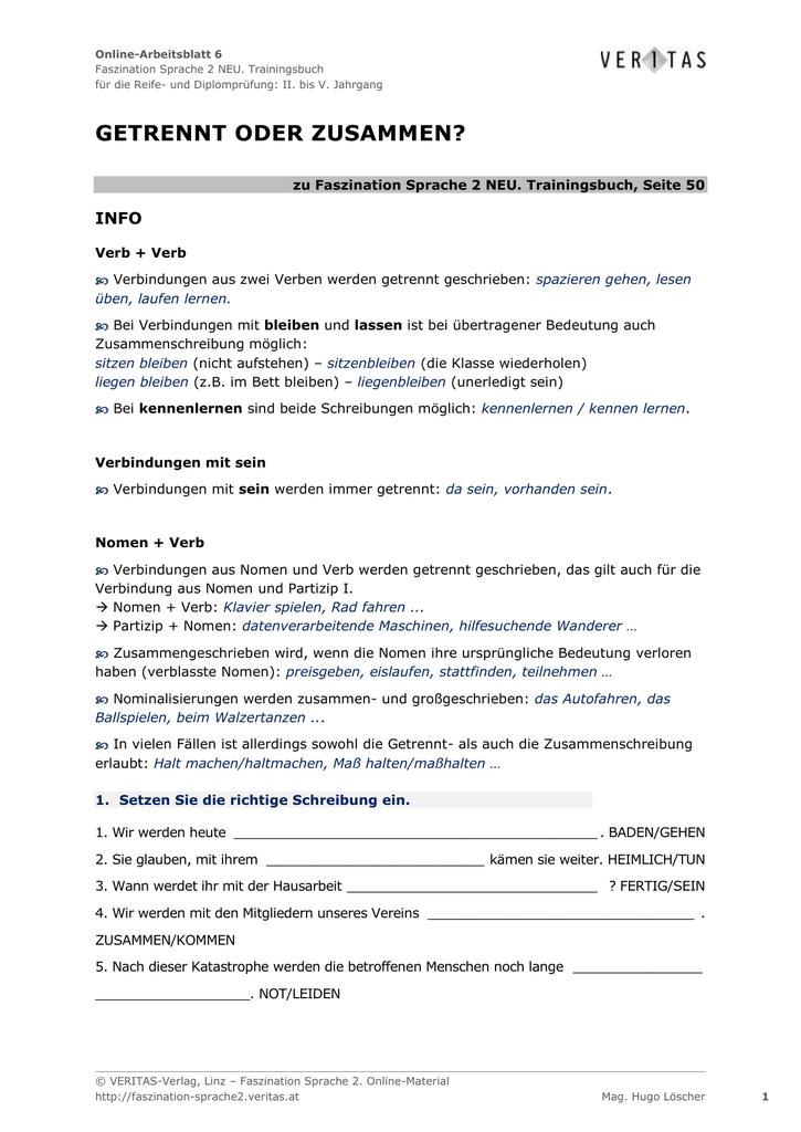 Online-Arbeitsblatt 6 Faszination Sprache 2 NEU. Trainingsbuch für