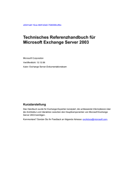 Technisches Referenzhandbuch für Exchange Server 2003