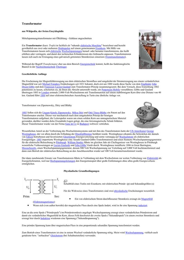 Physik Zusammenfassung: Transformator