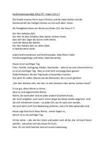 Konfirmationspredigt 2012/ PT: Psalm 121,5-7