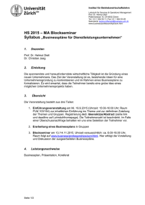 328 Seminar in Services- und Operationsmanagement