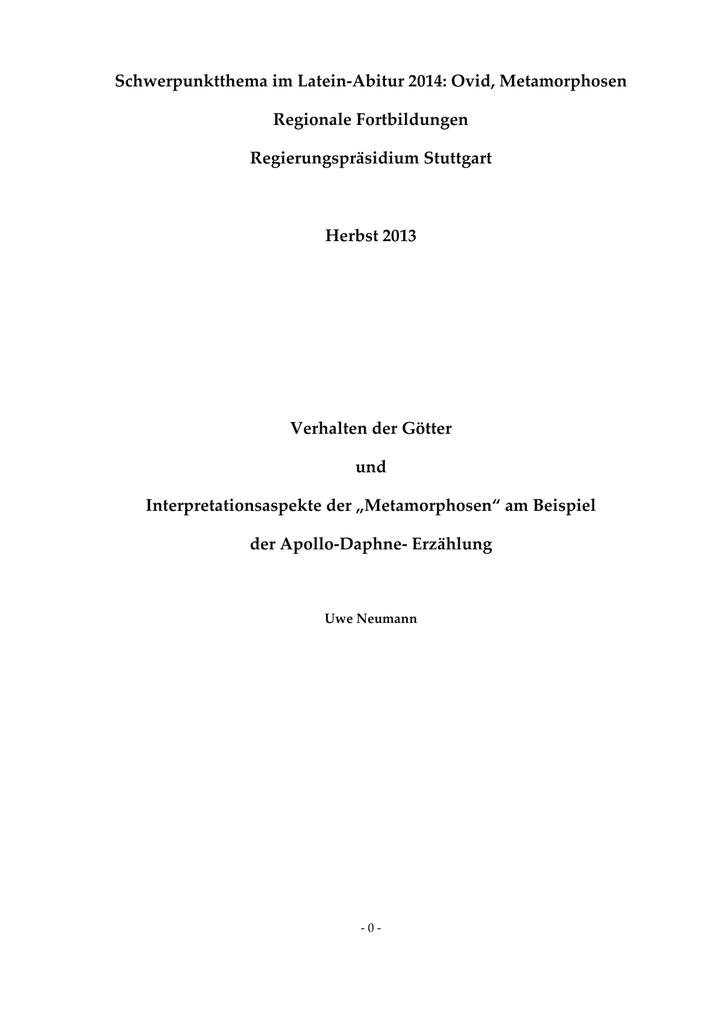Schwerpunktthema Im Latein Abitur 2014 Ovid Metamorphosen