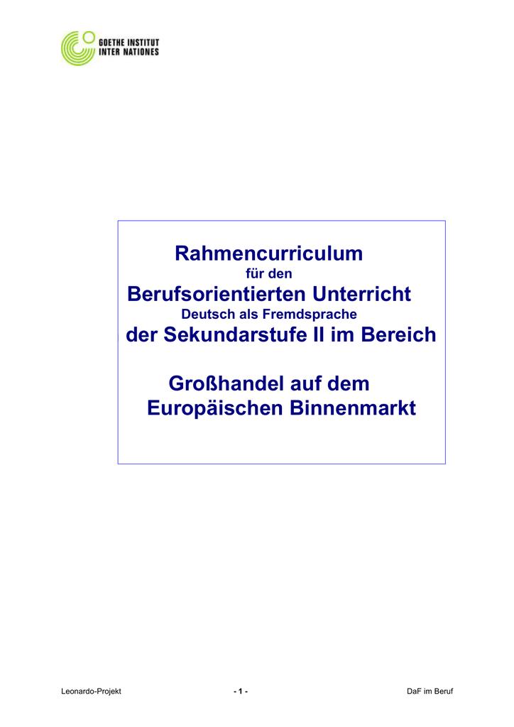 Rahmencurriculum berufsorientierter Unterricht - Goethe