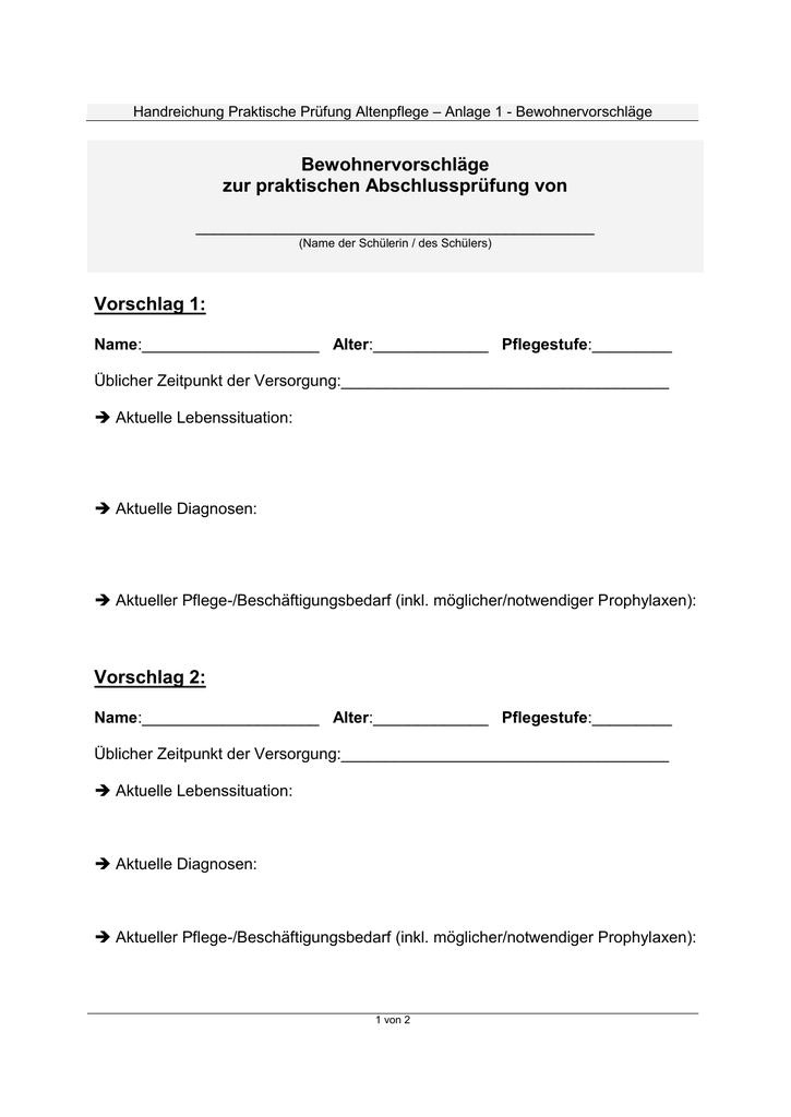 Handreichung Praktische Prüfung Altenpflege – Anlage 1