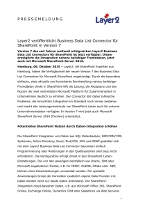 Layer2 veröffentlicht Business Data List Connector für SharePoint in