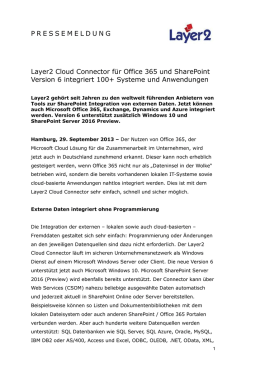 2015-09-29: Layer2 Cloud Connector für Office 365 und SharePoint