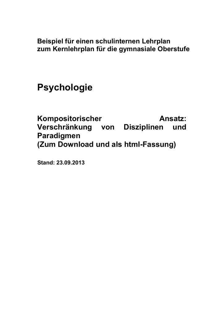 Schulinterner Lehrplan Psychologie