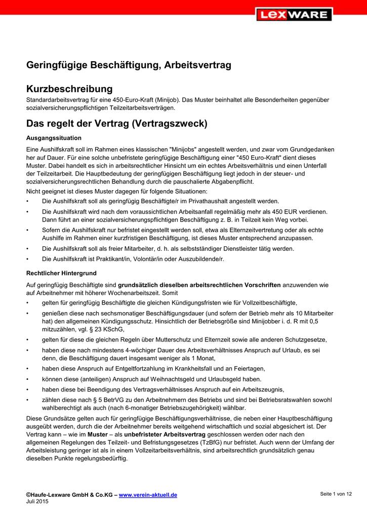 minijob vertrag 450 - Arbeitsvertrag Minijob Muster