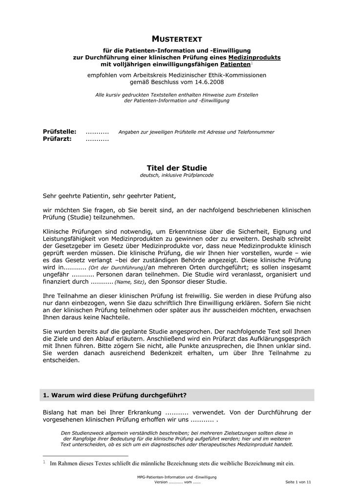 Muster Aufklärung Patienten MPG - Uni