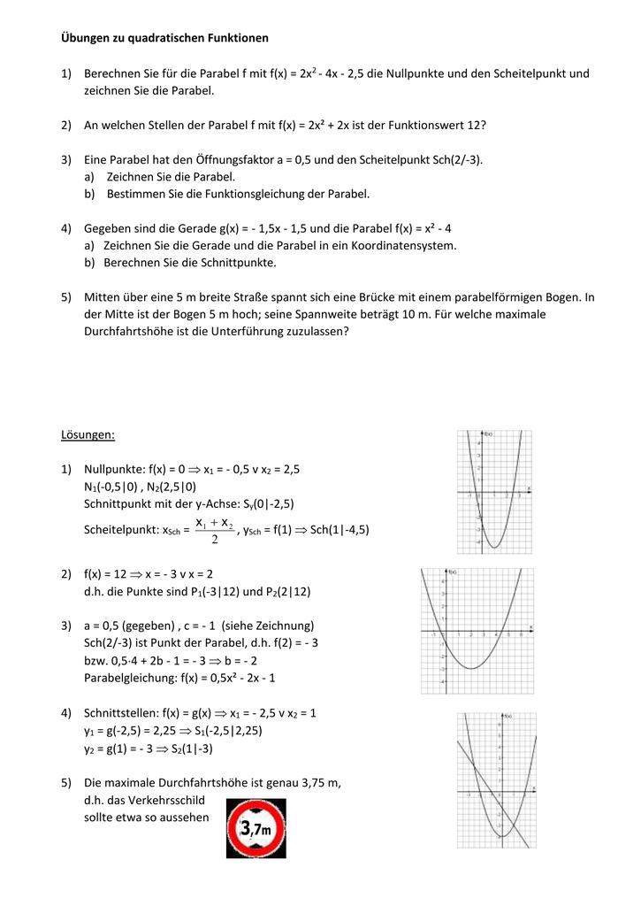 Übungen zu quadratischen Funktionen