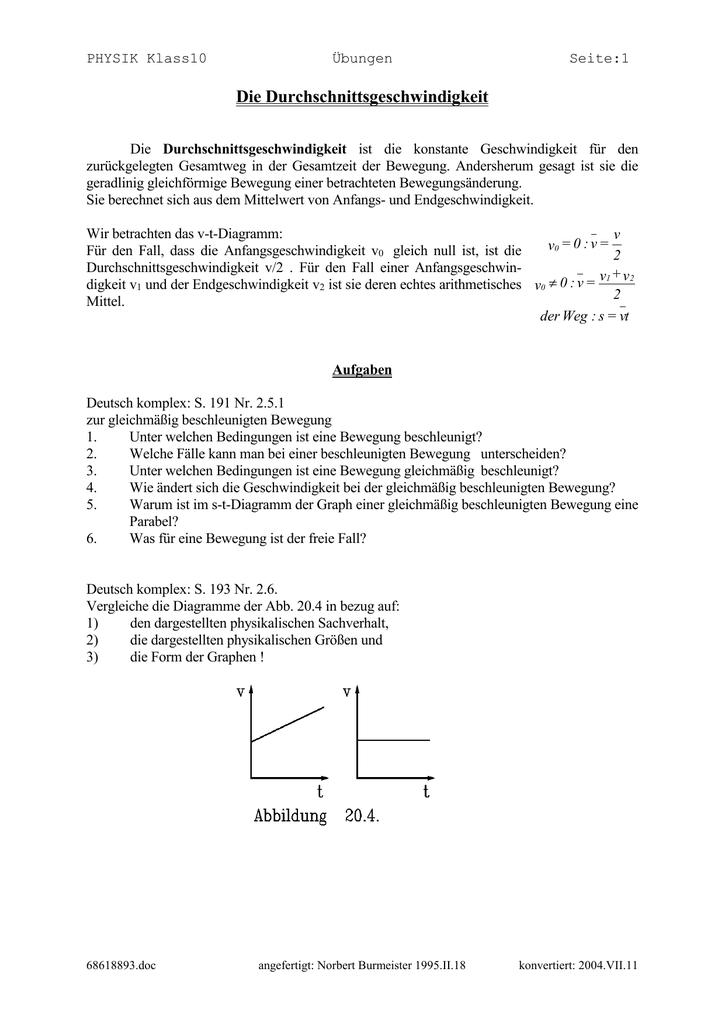 ungleichmäßige beschleunigung physik