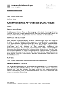 Operation eines Afterrisses (Analfissur)