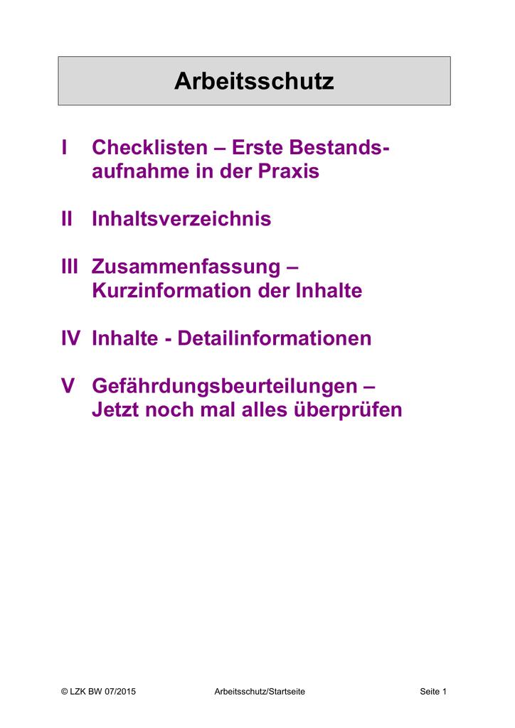 Arbeitsschutz Landeszahnärztekammer Baden