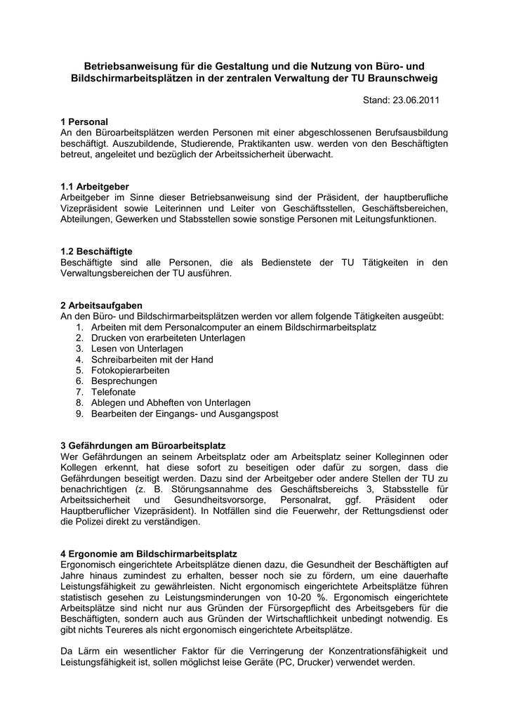 Muster Betriebsanweisung Buroarbeitsplatze