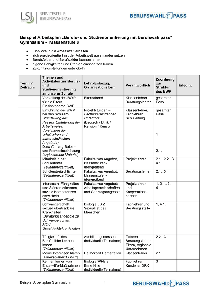 Beispiel Arbeitsplan GY